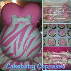 Custom Pink Zebra themed Baby Bump Cake/Cakepop Party Package with Dozen Cupcake Add-On! Baby Bump Cake in Red Velvet, Cakepops in Red Velvet and Key Lime, and cupcakes in Key lime. #cakebabycupcakes #cupcakes #cakepops #pregnant #cake #babyshower #party #pregnantbellycake #shower #Atlanta #Delivery #custom