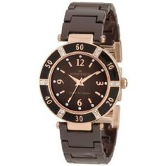 Anne Klein Women's 109416RGBN Swarovski Crystal Rosegold-Tone and Brown Ceramic Bracelet Watch (Watch) | click image for more information or to buy it
