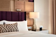 Beautiful mouthblown glass table lamps adorn the bedside in the guestrooms at Ritz Carlton Berlin Glass Table, Table Lamps, Bedside, Hospitality, Berlin, Beautiful, Glass Table Top, Table Lamp, Lamp Table