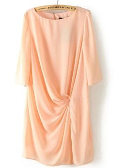 Pink Half Sleeve Pleated Back Hollow Dress pictures
