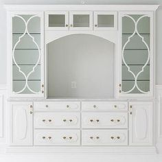 Glass Living Room Cabinets with Brass Knobs