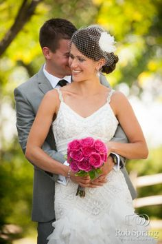 Side bun with birdcage veil :  wedding birdcage pink side bun - for Civil Ceremony?