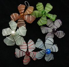 Multicolored Sea Glass Wreath Ornament Suncatcher by oceansbounty, $28.00