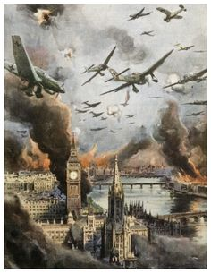 London and the Thames: in pictures An Italian newspaper shows German planes swooping over the Thames during the Blitz. The river area was heavily targeted by bombers in the Second World War, with the Docklands hit by over bombs. Luftwaffe, Military Art, Military History, Military Drawings, The Blitz, Battle Of Britain, Aviation Art, World History, Military Aircraft