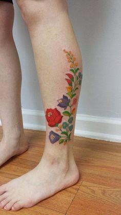 Hungarian matyo design. Tattoo Henna, Calf Tattoo, Tattoo You, Tattoo Thigh, Badass Tattoos, Mom Tattoos, Future Tattoos, Body Art Tattoos, Unique Tattoos