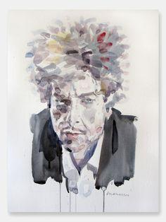 Bob Dylan Liquid Portrait, 2013 Watercolour 500x350 mm