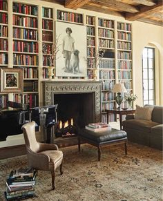 The living room of a home designed for friends almost 15 years ago. The mantel, detailed by architect James Carter in a polished Canadian… Home Library Design, House Design, Library Ideas, Library Fireplace, El Canton, Interior Exterior, Interior Design, Home And Living, Living Room