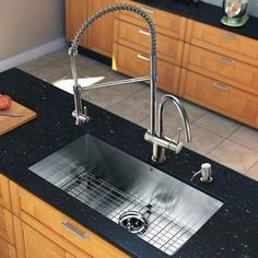 VIGO 32 Inch Undermount Single Bowl 16 Gauge Stainless Steel Kitchen Sink  With Dresden Chrome Faucet