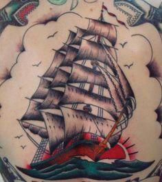 Traditional Clipper Ship Tattoo Old School Color Boat Sail by Aaron at California Tattoo Company, Savannah, GA