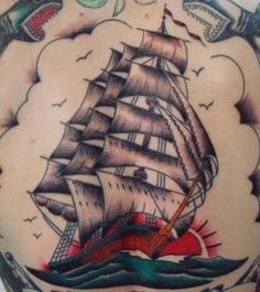 Traditional Clipper Ship Tattoo Old School Color Boat Sail by Aaron at California Tattoo Company, Savannah, GA