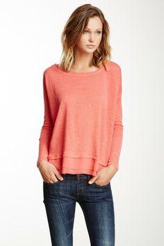 Coral Sheer Hem Linen Sweater