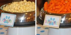 Blue's Clues party - the use of dog bowls.  Foods like Bow-wow-nies, pupcorn... Cute doggie bags as favors
