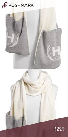 HUNTER H POCKET SCARF CREAM GRAY NEW WITHOUT TAGS Hunter Accessories Scarves & Wraps