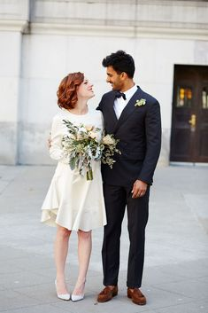 The pair fell in love overseas at a London pub. #Cheers. #refinery29 http://www.refinery29.com/spring-city-hall-weddings-nyc#slide-5