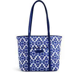 Vera Bradley | Cobalt Tile with Navy | Small Trimmed Vera Tote