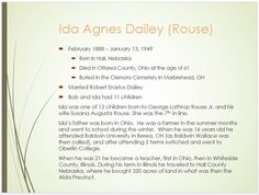 Dailey Family Tree - page 31 Ida Agnes Rouse (Mrs. Robert Erastus Dailey) 1888 - 1949