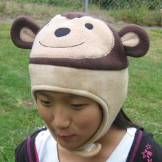 Monkey Fleece Hat with Strap  Baby Toddler by DinkyDimples on Etsy
