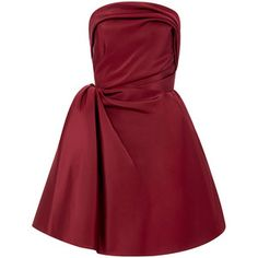 Oscar de la Renta Strapless Silk Faille A-Line Dress