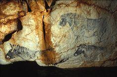 Cosquer - l'image de chevaux peints qui a fait le tour du monde - les deux peintures du bas sont menacée par le niveau de la mer : s'il monte de 20cm avec le réchauffement climatique c'est 20 cm de peintures qui disparaissent