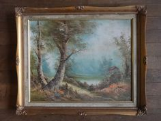 Vintage French Cottage Countryside Riverbank House Oil Painting Art Cafferia circa 1950-60's Purchase in store here http://www.europeanvintageemporium.com/product/vintage-french-cottage-countryside-riverbank-house-oil-painting-art-cafferia-circa-1950-60s/