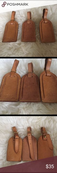 Louis Vuitton vachetta leather luggage tag AUTH Listing is for ONE authentic vachetta leather luggage tag. 3 shown are available. Will be given at random unless one is specifically requested. All are in good used vintage condition. Have darkening, some marks. All function as meant to be used. This is the larger size LV luggage tag Louis Vuitton Accessories