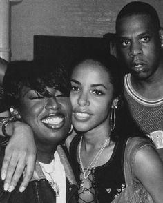 Missy Elliott & Aaliyah, w/ Jay Z in the back, early 1990's