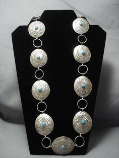Important Yazzie Vintage Navajo Sterling Silver Concho Belt - Native American Jewelry Nativo Arts