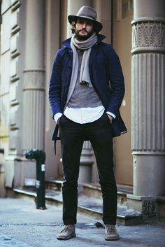 Beard hat fashion tumblr style coat scarf shirt sweater jeans denim desert boots