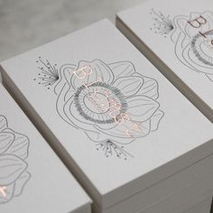 Grey litho to rose gold letterpress business cards More