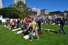 San Francisco, not the beach, but near it.  It's a team building field event, including Cornhole, the game originated in Germany and was popularized in the midwest.  #sanfrancisco #teambuilding #cornhole