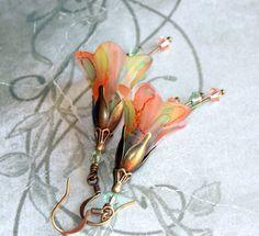 "Lucite Flower Earrings, ""Cantaloupe"" Victorian Earrings, Boho Earrings, Hand Painted, Dangle Earrings, Vintage Style Flower Earrings"