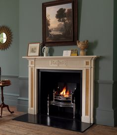 Shown here in statuary marble with Giallo Treviso marble ingrounds, Osterley steel fire basket, black slate hearth and slips; Opening W x 41 H Shelf L x 8 D Overall size 60 W x H Depth of jamb 3 Height of footblock Fireplaces Uk, Custom Fireplace Mantels, Georgian Fireplaces, Art Deco Fireplace, Bedroom Fireplace, Fireplace Hearth, Stove Fireplace, Marble Fireplaces, Fireplace Surrounds