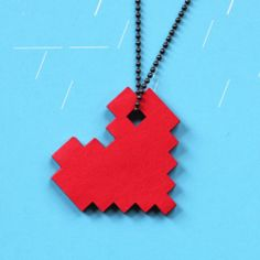Pixel heart pendant - so easy to make too!