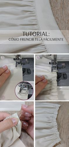 Costura paso a paso: Cómo fruncir tela fácilmente. - Wiggly Tutorial and Ideas Techniques Couture, Sewing Techniques, Diy Clothing, Sewing Clothes, Fashion Sewing, Diy Fashion, Vintage Fashion, Sewing Art, Sewing Patterns