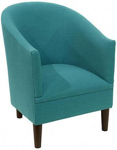 One Kings Lane Ashlee Barrel Accent Chair - Teal Linen Round Back Dining Chairs, Fire Pit Table And Chairs, Dining Room Table Chairs, White Dining Chairs, Upholstered Desk Chair, Industrial Office Chairs, Blue Accent Chairs, Blue Chairs, Teal Chair