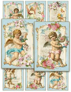 Simply Shabby Angels and Cherubs Printable Digital Collage Sheet jewelry atc Vintage Instant Download