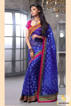 Pavitraa #Blue and #Pink Party Wear #Sarees