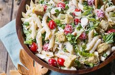 Creamy Chicken Caesar Pasta Salad…The Only Salad That Won't Leave You Hungry Chicken Caesar Pasta Salad, Caesar Salad, Big Salad, Creamy Chicken, Home Recipes, Food Styling, Easy Meals, Veggies, Eat