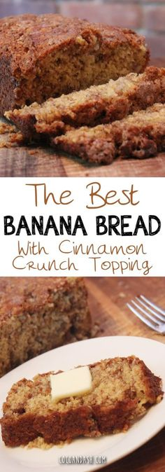 For the banana bread: 1 and 1/2 cup all-purpose flour 2 tsp baking powder 1/4 tsp baking soda 1 tsp salt 2/3 cup sugar 3/4 cup quick-cook oats 1/4 cup canola oil (or melted butter) 2 large eggs 1/3 cup milk 3 very ripe bananas 1/2 cup walnuts (optional) For the topping: 1/2 cup sugar 2 tbsp all purpose flour 2 tbsp softened butter 1 tsp cinnamon If you'd like to make this recipe into MUFFINS, follow the same recipe and bake for only 25 minutes. It makes 12 standard sized muffins. (See…