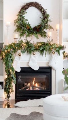 Here are 100 Best Christmas Mantel Decorations. Take inspiration for the perfect Christmas Fireplace decor, that include various themes & traditional styles Diy Christmas Fireplace, Christmas Mantels, Christmas Home, Fireplace Ideas, Christmas Villages, Victorian Christmas, Pink Christmas, Christmas Fireplace Decorations, Christmas Trees