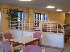 Ideal for nursing homes. These screens have arch tops. Timber Screens, Nursing Homes, Bespoke Design, Trellis, Arch, Layout, Flooring, Bed, Furniture