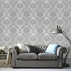 Silk Silver effect Wallpaper - B&Q for all your home and garden supplies and advice on all the latest DIY trends Silver Kitchen Wallpaper, Silver Effect Wallpaper, Mink Wallpaper, Embossed Wallpaper, Expensive Wallpaper, Stunning Wallpapers, Wall Patterns, Love Seat, Living Room