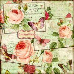 VINTAGE ROSE digital collage sheet digital by CherryPinkPrints
