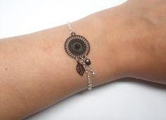 Bracelet noir argenté estampes rosace feuille goutte perles