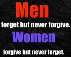 Men forget but never forgive.