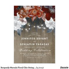Burgundy Marsala Floral Chic String Lights Wedding Card Floral wedding invitations with the string of lights and red, white and burgundy (wine color) flowers bouquet