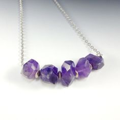 Amethyst Faceted Nugget Necklace Antique Silver by CalliopeAZCreations.etsy.com   $65.00  Stunning Gift