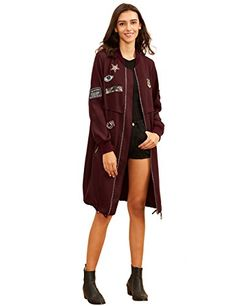 304af4e19265f DIDK Womens Lightweight Long Patched Windbreaker Bomber Jacket Coat L **  Want additional info? Click on the image. (This is an affiliate link)