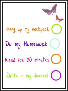 After school chore list printables for kids