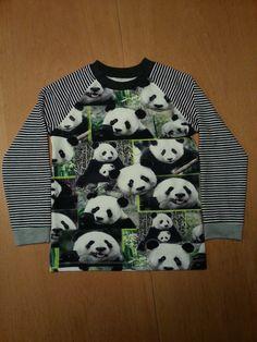 Longsleeve gemaakt van panda katoenen tricot. Patroon T-shirt met raglanmouwen Rascal, Ottobre herfst 4/2013.